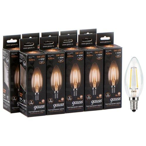 Упаковка светодиодных ламп 10 шт gauss 103801105, E14, 5Вт упаковка светодиодных ламп 10 шт gauss 13626 gu10 r50 5 5вт