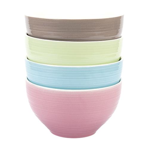 Коралл Набор салатников Классика 13.5 см, 4 предмета коричневый/зеленый/голубой/розовый
