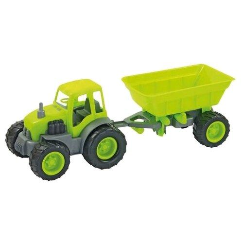 Трактор ZEBRATOYS с прицепом Active в коробке (15-10174) 44 см зеленый трактор экскаватор falk педальный с прицепом зеленый 225 см
