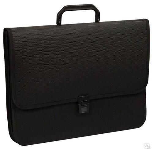 OfficeSpace Папка-портфель 2 отделения A4+, на замке, пластик черный, Файлы и папки  - купить со скидкой