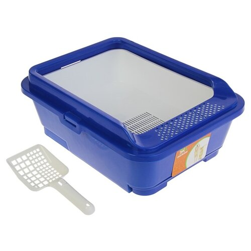 Туалет-лоток для кошек Пижон 3262773\3262774 51х40х18.5 см синий/белый