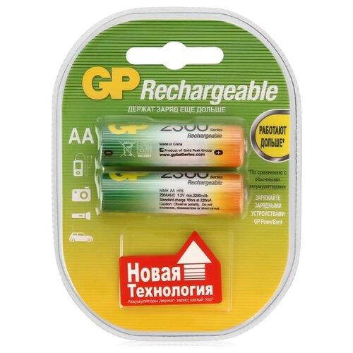Фото - Аккумулятор Ni-Mh 2300 мА·ч GP Rechargeable 2300 Series AA 2 шт блистер аккумулятор smartbuy sbr 2a02bl2300 aa 2 шт