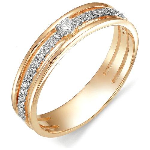 АЛЬКОР Кольцо с бриллиантом из красного золота 585 пробы 11929-100, размер 18 фото