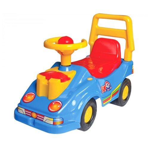 Купить Каталка-толокар ТехноК Автомобиль для прогулок с телефоном (2490) со звуковыми эффектами синий, Каталки и качалки