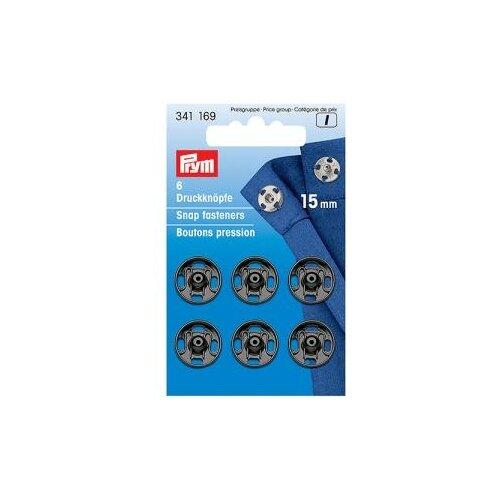 Фото - Prym Кнопки пришивные 341169, черный, 15 мм, 6 шт. prym кнопки пришивные квадратные 347125 белый 9 мм 15 шт