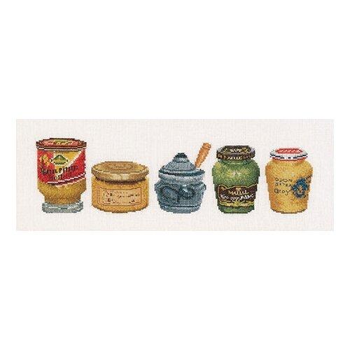 Набор для вышивания Банки с горчицей, канва лён 36 ct, Thea Gouverneur, Наборы для вышивания  - купить со скидкой