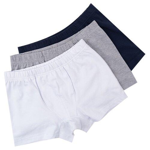 Купить Трусы playToday 3 шт., размер 128, белый/серый/синий, Белье и пляжная мода