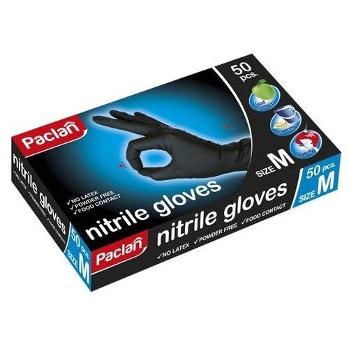 Перчатки Paclan нитриловые, 25 пар, размер M, цвет черный