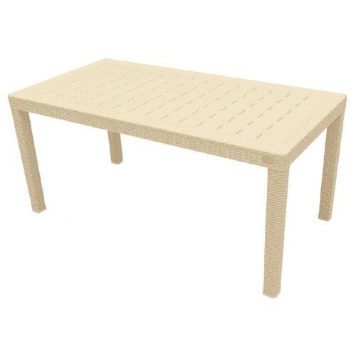 Стол обеденный садовый InGreen Rattan большой, сливочный