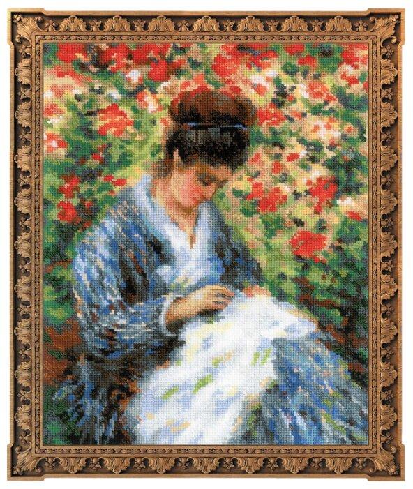 Риолис Набор для вышивания Premium Мадам Моне за вышивкой (по мотивам картины К. Моне) 24 х 30 см (100/051)