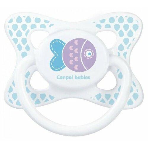 Купить Пустышка силиконовая анатомическая Canpol Babies Summertime 6-18 м (1 шт) голубой/рыбка, Пустышки и аксессуары