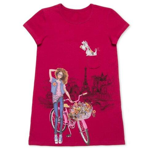 Платье MF Девочка с собачкой размер 116, малиновый