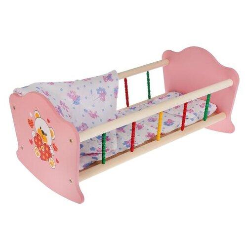 Купить Карапуз Кроватка для куклы Мой мишка (RB-B-P) розовый/белый, Мебель для кукол