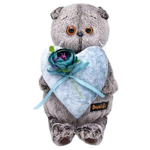 Купить Мягкая игрушка Basik&Co Кот Басик с сердцем из бархата 25 см, Мягкие игрушки