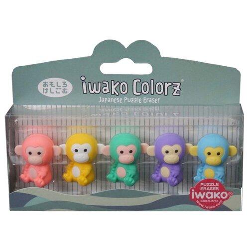 Купить IWAKO Набор ластиков Colorz Monkey ассорти, Ластики
