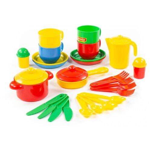 Набор посуды Полесье Хозяюшка на 4 персоны 4008 разноцветный полесье набор игрушечной посуды алиса на 4 персоны 58980 цвет в ассортименте