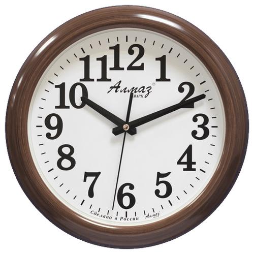 Часы настенные кварцевые Алмаз H05 коричневый/белый часы настенные кварцевые алмаз c51 c54 коричневый белый