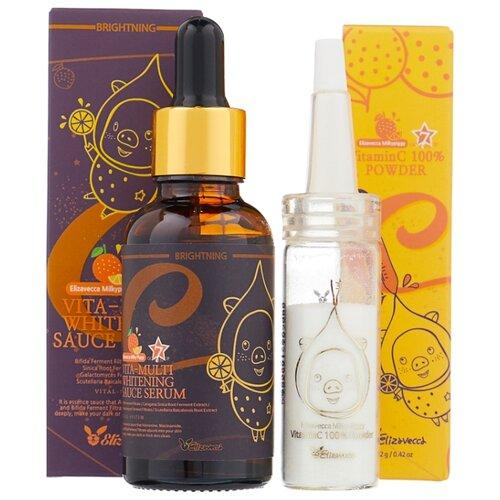 Купить Elizavecca Vitamin C 100% Powder + Vita Multi Whitening Sauce Serum Набор для лица Пудра витамина С, 12 гр + Омолаживающая сыворотка для лица, 30 мл (2 шт.)