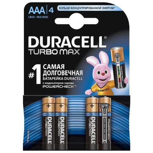 Фото - Батарейка Duracell Turbo MAX AAA/LR03 4 шт блистер батарейка duracell ultra power aaa lr03 12 шт блистер