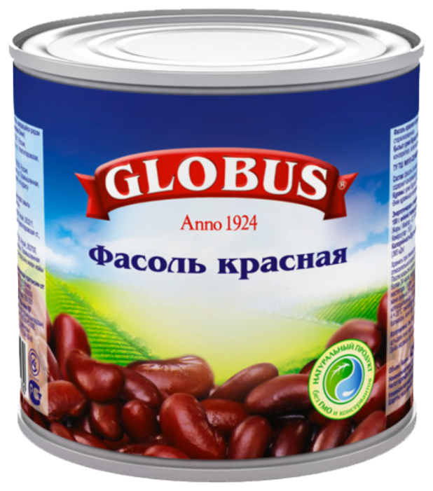 Фасоль Globus красная натуральная, жестяная банка 400 г