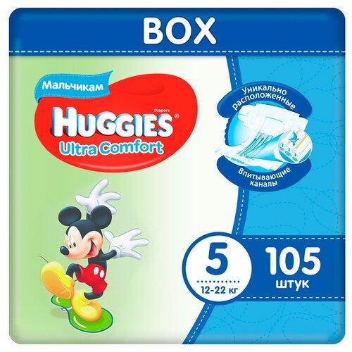 Купить Huggies подгузники Ultra Comfort для мальчиков 5 (12-22 кг), 105 шт., Подгузники