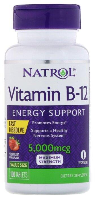 Витамин Natrol B-12 5000 mcg Fast Dissolve (100 таблеток) клубника