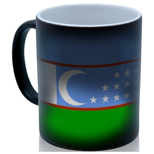 Кружка хамелеон флаг Узбекистана, необычный сувенир