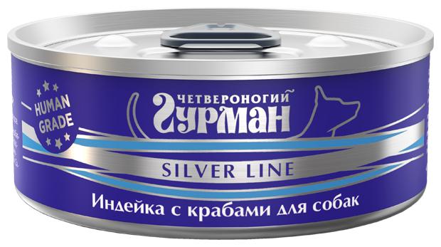 Корм для собак Четвероногий Гурман Silver line индейка, краб 100г