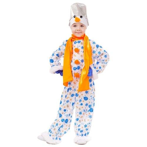 Купить Костюм пуговка Снеговик Снежок (1037 к-18), белый/синий/оранжевый, размер 122, Карнавальные костюмы