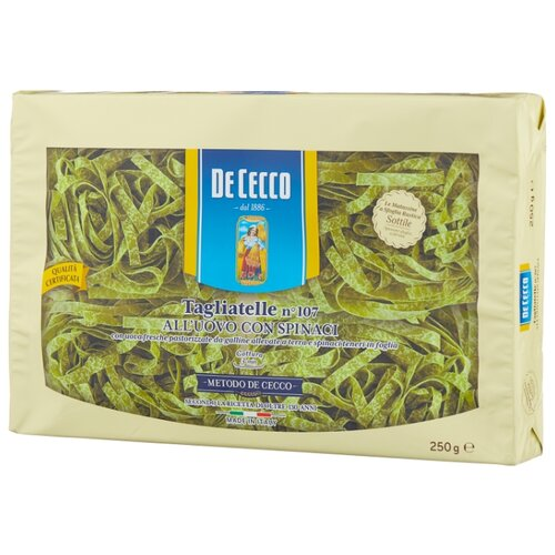De Cecco Макароны Tagliatelle n° 107 all'uovo со шпинатом, 250 г