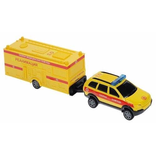 цена на Внедорожник Autotime (Autogrand) Command Centre скорая помощь с прицепом (34202) 1:32 желтый/красный