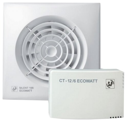 Вытяжной вентилятор Soler & Palau SILENT-100 CZ 12VDC ECOWATT + CT-12/6 8 Вт — купить по выгодной цене на Яндекс.Маркете