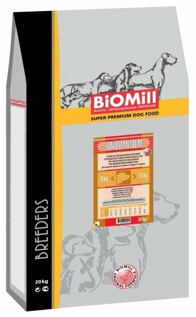 Корм для собак Biomill Breeders Medium Junior (20 кг)