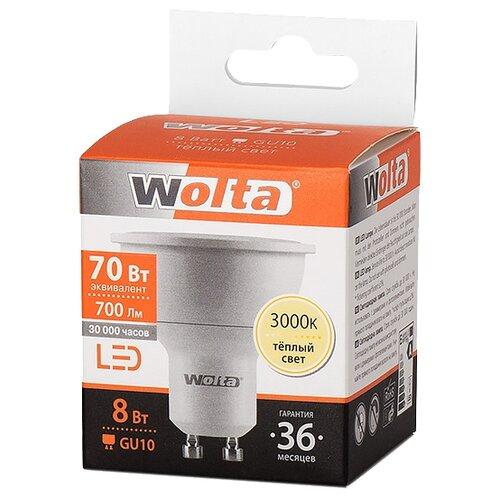 Лампа светодиодная Wolta GU10, MR16, 8ВтЛампочки<br>