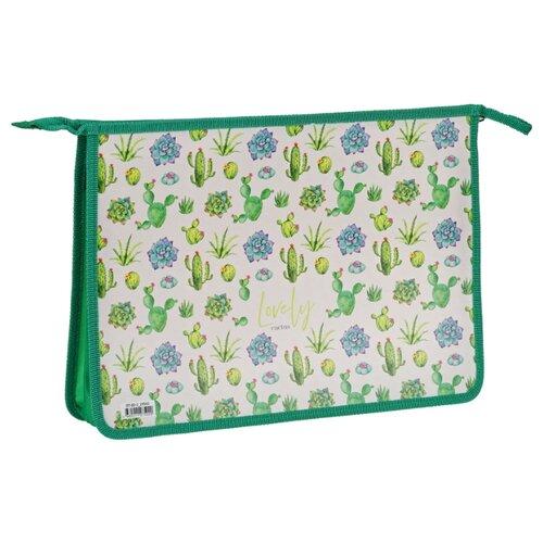 ArtSpace Папка для тетрадей Lovely cactus А4, на молнии, пластик зеленый недорого