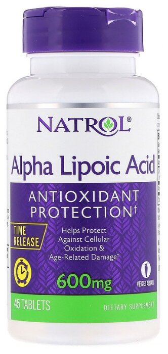Антиоксидант Natrol Alpha Lipoic Acid 600 mg Time Release (45 таблеток) нейтральный