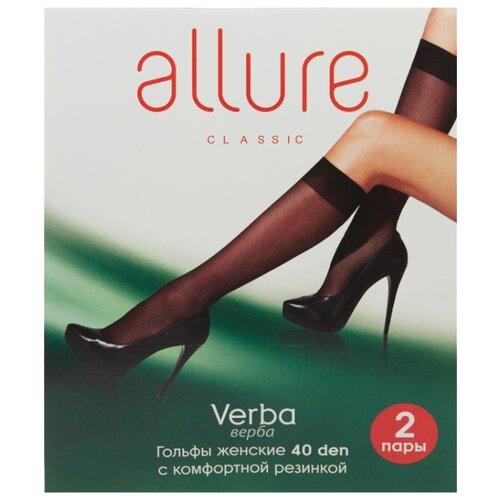 Капроновые гольфы ALLURE Verba 40 den, 2 пары, размер универсальный, nero