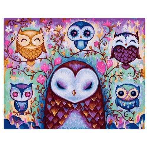Купить ВанГогВоМне Картина по номерам Шесть сов , 40х50 см (ZX 22162), Картины по номерам и контурам