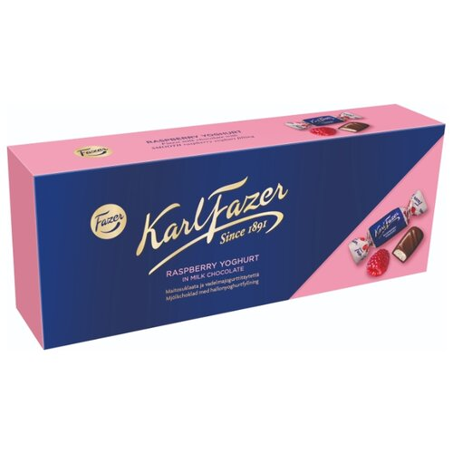 Набор конфет Fazer Karl Fazer из молочного шоколада с малиновым йогуртом 270 г синий/розовый karl fazer молочный шоколад вкус мяты и драже из молочного шоколада 130 г