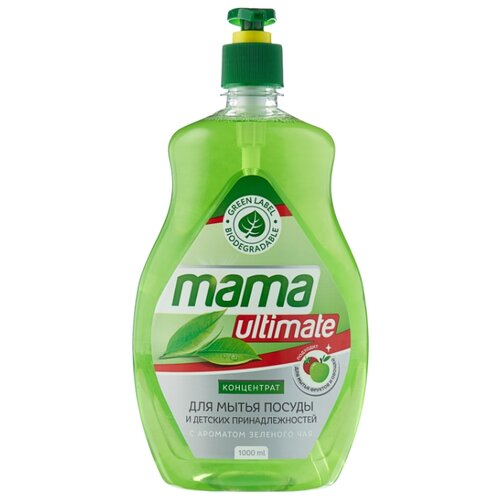 Mama Ultimate Концентрат для мытья посуды Зелёный чай 1 л с дозаторомДля мытья посуды<br>