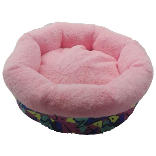 Лежак для кошек, для собак LOORI Гнездышко Абстракция Z0114 38х38х17 см розовый