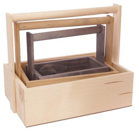 Ящик Дарите счастье набор 3 в 1 с шильдиком и ручкой Улыбнись 30×20×25 см
