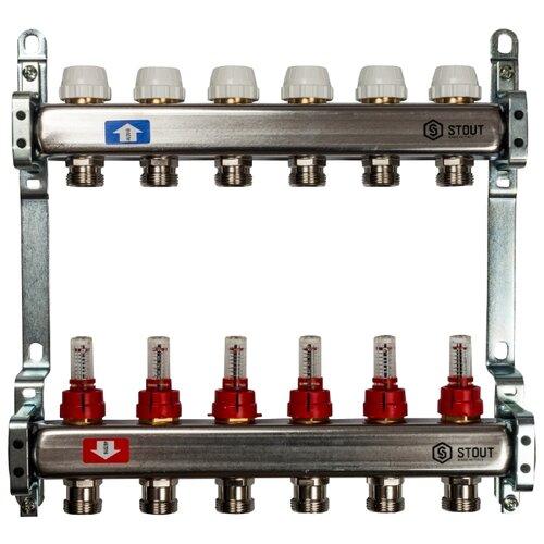 Коллекторная группа STOUT (SMS 0917 000006) 1 ВР, 6 отводов 3/4, расходомерКоллекторы<br>