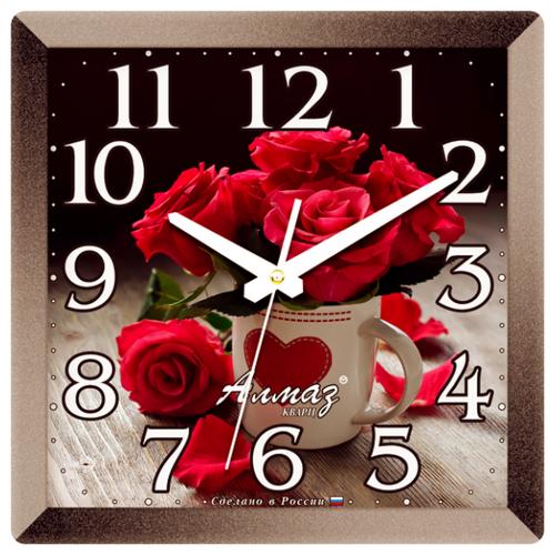 Часы настенные кварцевые Алмаз K16/K29 серый/малиновый часы настенные кварцевые алмаз e66 серый