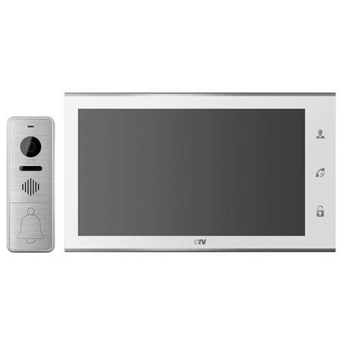 Комплектная дверная станция (домофон) CTV CTV-DP4105AHD серебро (дверная станция) белый (домофон)