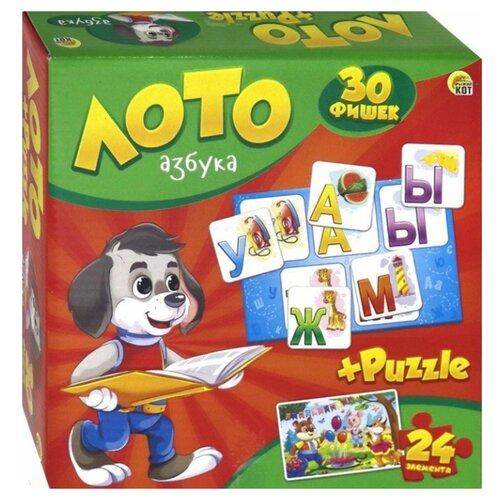цена на Настольная игра Рыжий кот Лото + пазлы Азбука ИН-6061