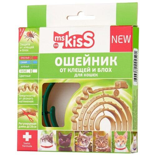 Ms.Kiss ошейник от блох и клещей New для кошек и котят, 38 см, зеленый ошейник для кошек beaphar от блох и клещей 35см