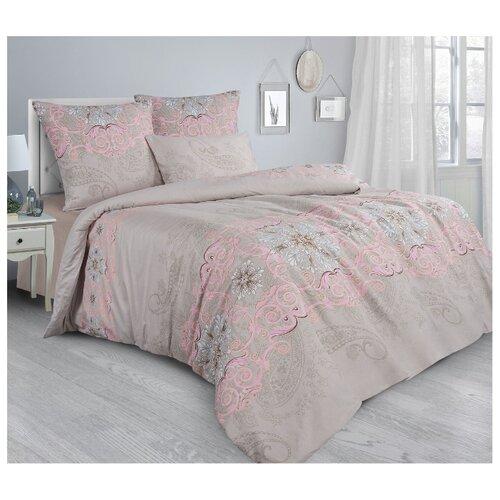 Постельное белье 1.5-спальное Guten Morgen Paisley Pink 862 70х70 см, сатин бежевый/розовый