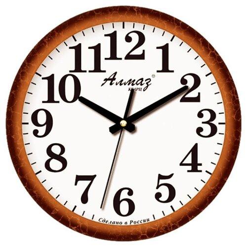 Часы настенные кварцевые Алмаз B18/B19 коричневый/белыйЧасы настенные<br>