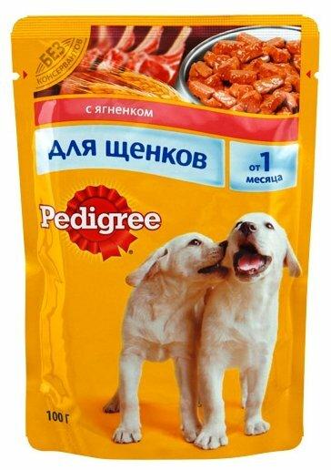 Корм для щенков Pedigree для здоровья кожи и шерсти, для здоровья костей и суставов, ягненок 100г